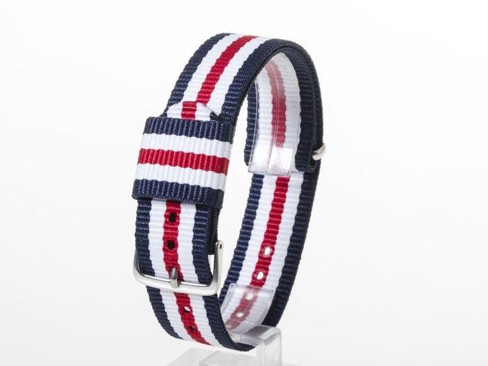 DW款式 編織加厚尼龍錶帶 尼龍手錶帶 – 20mm銀色 – 藍白紅白藍 FA-38795