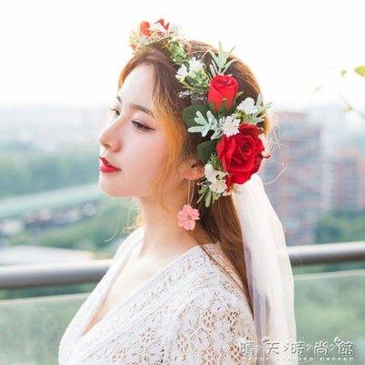 折扣促銷 森系小清新花環韓式新娘頭飾仿真花朵髮飾頭花影樓婚紗結婚飾品