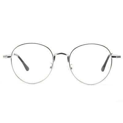 正韓男女款素顏潮人金屬圓形平光鏡眼鏡架復古眼鏡框