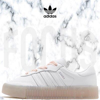【FOCUS】全新 ADIDAS ORIGINALS SAMBAROSE 白 緞帶 皮革 厚底 增高 女鞋 FY3030