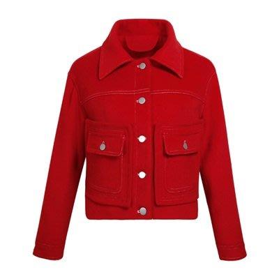 毛呢 外套 短版大衣-紅色翻領單排扣直筒女外套73ui5[獨家進口][米蘭精品]
