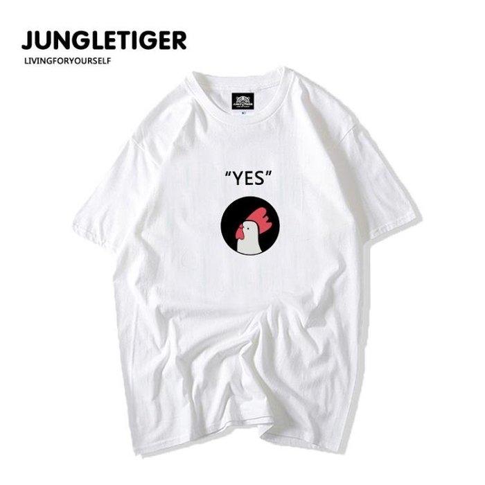 夏裝韓版寬鬆原宿風yes男女款情侶裝嘻哈短袖T潮