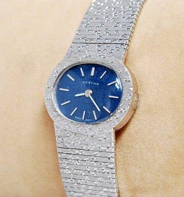 《寶萊精品》CERTINA 雪鐵納銀藍橢圓手動女錶