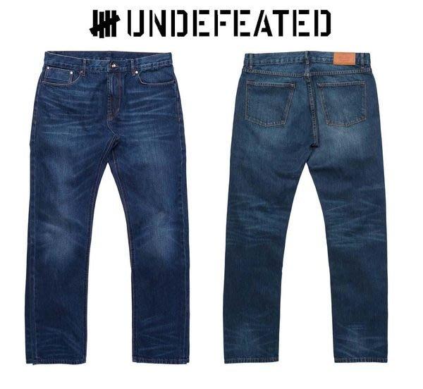 【 超搶手 】全新正品 2012 A/W 秋季 UNDEFEATED WASHED JEANS 水洗刷紋 赤耳 深藍色 牛仔褲 W32