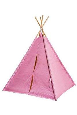 現貨【 Mimi Rabbit】印地安人四角帳篷 兒童遊戲屋  印第安風格 木頭支架 純棉布款 粉紅條紋 包腳款【特價】