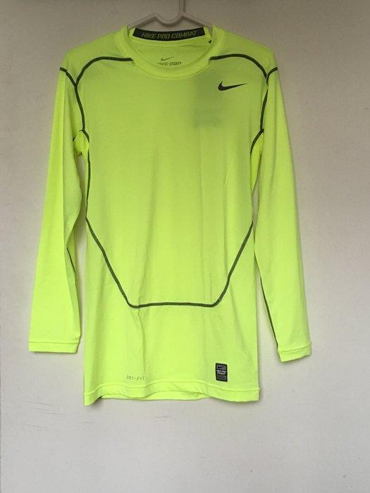 全新 NIKE PRO COMBAT 緊身衣 長袖 保暖 重訓 健身 慢跑 籃球 極限運動 螢光綠 449794-702