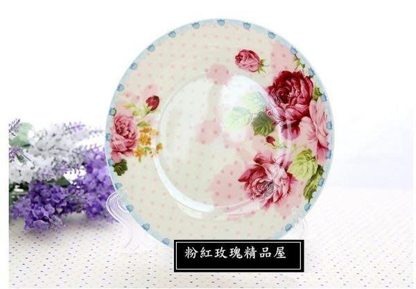 粉紅玫瑰精品屋~歐式田園風格新房裝飾盤骨瓷玫瑰花盤子~現貨