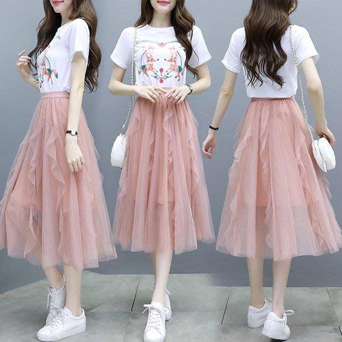 正韓夏裝 連身裙 夏季新款短袖網紗裙子兩件套裝連身裙女顯瘦T恤套裝裙
