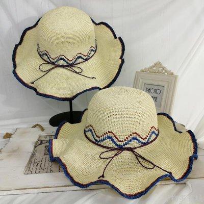 好物多商城 手工編制拉菲草帽女夏天波西米亞海邊出游遮陽沙灘帽子百搭可折疊