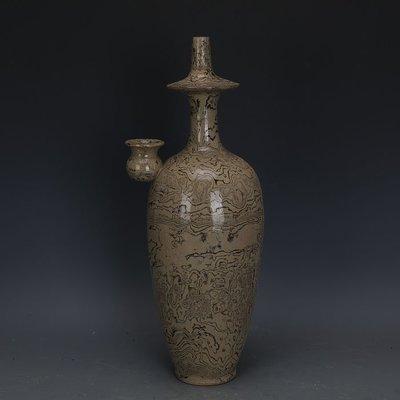 ㊣姥姥的寶藏㊣ 唐代灰地全手工絞胎瓷淨瓶  文物出土古瓷器古玩古董收藏擺件