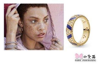 【小黛西歐美代購】PANDORA 潘朵拉鍍18K新款寬版藍色條紋和寶石戒指 925純銀 美國正品代購