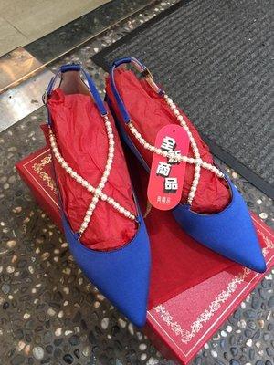 典精品名店 Rene Caovilla 全新 真品 緞面珍珠 鑽砂 平底鞋 晚宴鞋 38 現貨