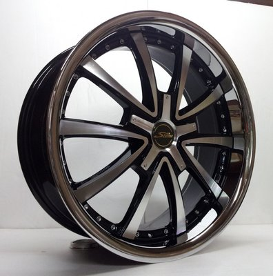 【FK鋁圈】wheel KR719A 19吋鋁圈 5/112 亮黑車面邊包白鐵8J ET45