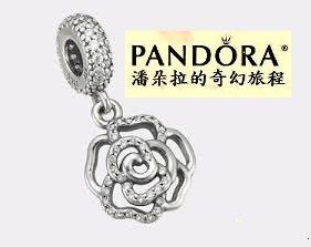 2015母親節款{{潘朵拉的奇幻旅程}} Rose silver dangle 閃亮玫瑰吊飾 791526CZ