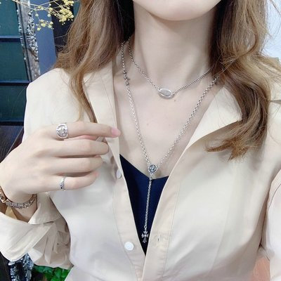 JUNJUN ACCch剋羅心十字架珍珠項鍊女潮牌個性一體長鍊百搭時尚款純銀項鍊男