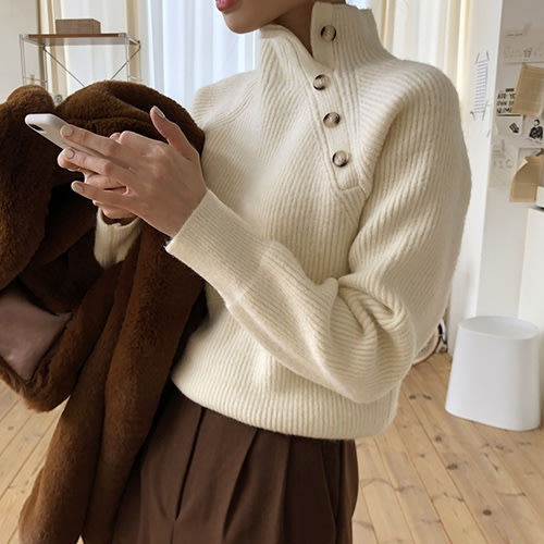 i-Mini 正韓|側邊小釦羊毛70%立領針織上衣|4色‧ 韓國連線‧代購‧空運【12155406NA】