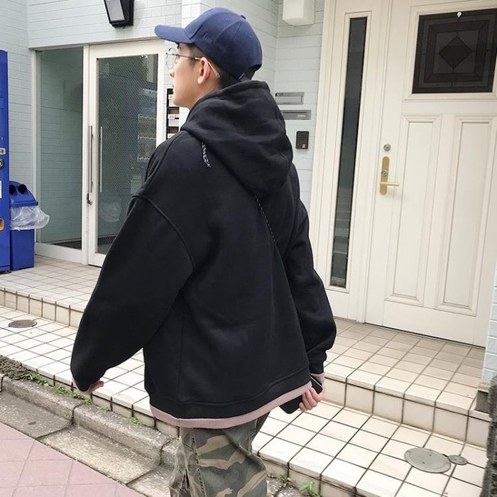 連帽T恤 GBOY秋冬季港風chic加絨衛衣男連帽衫潮牌情侶加厚ins超火的外套