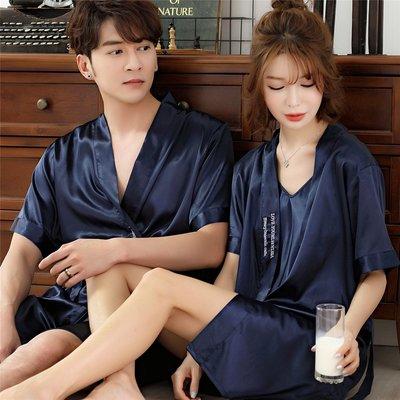 舒適情侶睡衣真絲夏季冰絲吊帶睡袍兩件套睡裙女男絲綢浴袍短袖家居服