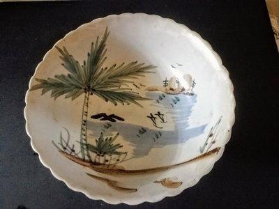 「早集老盤」早期台灣手繪風景老碗盤—老碗公—獨一無二
