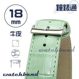 【鐘錶通】C1.24I《亮彩系列》鱷魚格紋-18mm 湖水綠┝手錶錶帶/皮帶/牛皮錶帶┥