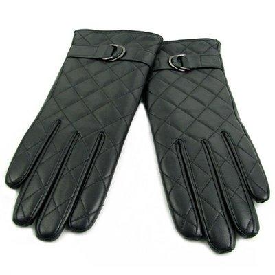 手套 保暖時尚女士進口羊皮手套 秋冬加厚加絨保暖菱形格雅致手套