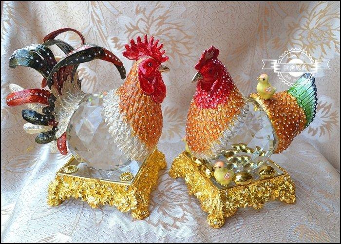 華麗風 水晶鑲鑽公雞母雞帶路雞 合金彩繪公母雞起雞起家入厝12禮品搬家訂婚用品居家擺飾佈置品裝飾品財位擺放 【歐舍家飾】