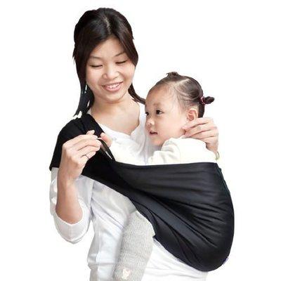 Una背巾 (哺乳揹巾) 背帶 推車 哺乳衣 巾最佳支援~嬰兒背巾 ☆╮精選彈性系列~純粹黑╭☆台灣製好品質