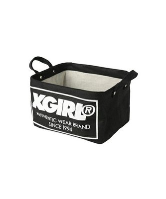 日本 X-Girl 黑色帆布 白色LOGO 小SIZE 收納箱 ($200 包順豐)