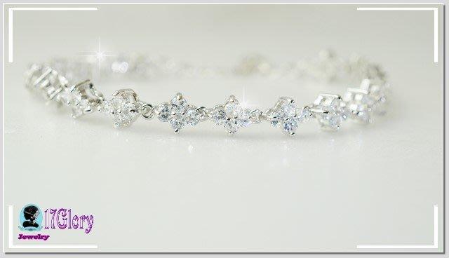 閃亮細緻頂級十字花鑽全圈擬真鑽石手鍊 鍍白K金 超閃 新娘珠寶 婚禮宴會禮服穿搭 耀眼動人#現貨✽17 Glory✽