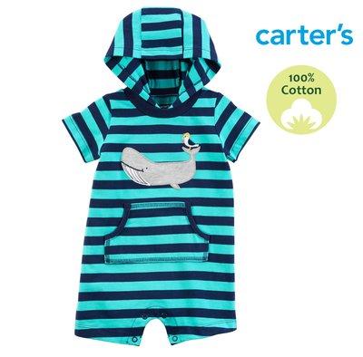 美國童裝 Carter's 【100%純棉】短袖 包屁衣 連身裝 爬服 連帽T。小鯨魚的世界
