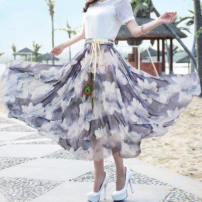 福福百貨~波西米亞沙灘裙/大擺仙女裙中長款/雪紡半身裙長裙子~有多種顏色