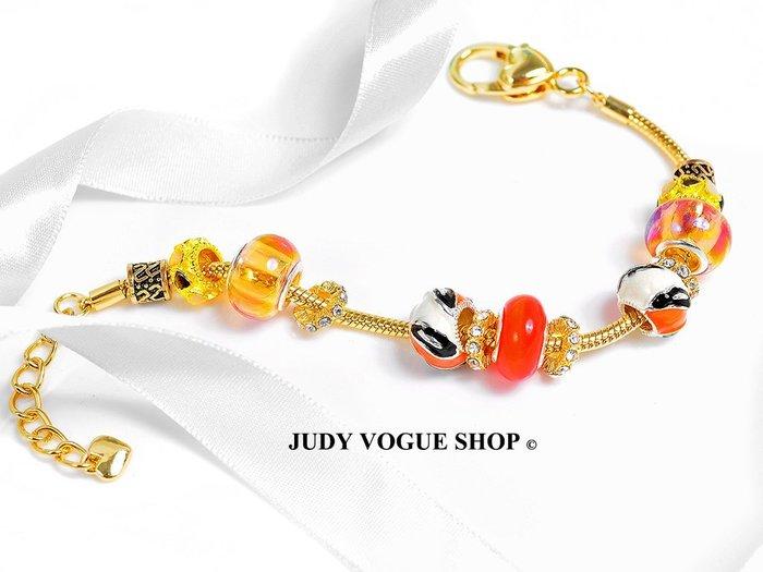 韓國潘朵拉手鍊 紅珊瑚淡雅黃手鍊 熱帶島嶼風格  JUDY VOGUE SHOP 【JBS-0002】