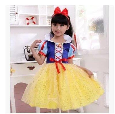 艾莉小舖 萬聖節兒童白雪公主裙 禮服裙演出服裝 蓬蓬裙 (有髮圈)