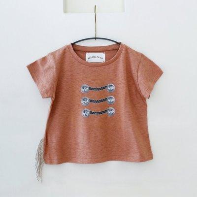 日本Michirico 流蘇短袖T-shirt (印地安紅) 日本製造 size M  clearance sale