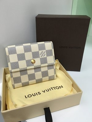 Louis Vuitton Damier白色短皮夾