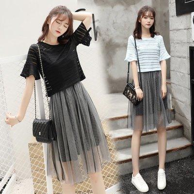 半身裙 連身裙 韓版女裝春夏季新款短袖T恤女套裝裙中長款兩件套吊帶網紗連衣裙