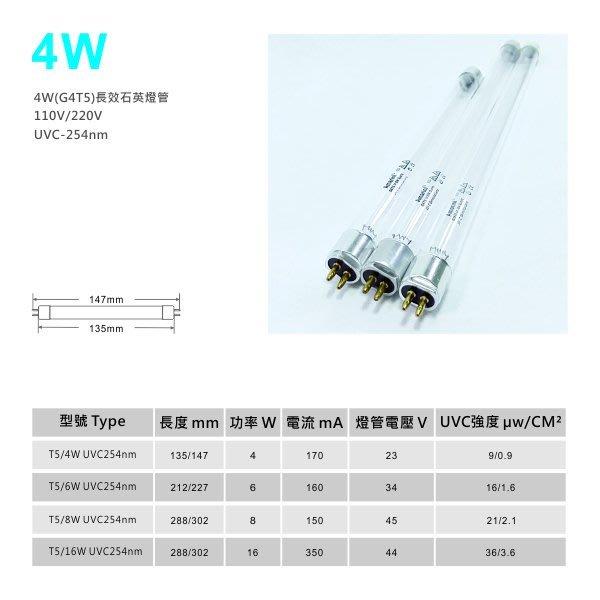 4W-UVC254-石英長效紫外線殺菌燈管G4T5 (殺菌器通用)/另有6W.8W.16W