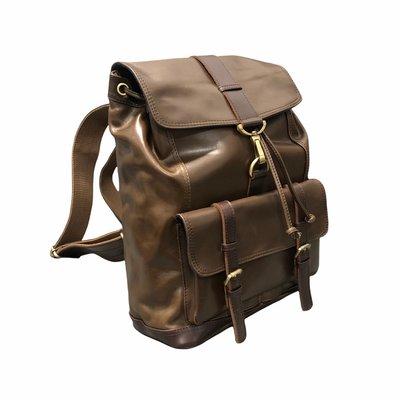 【AG真皮】(棕) 進口油蠟名牌牛皮 大容量後背包 15吋筆電 男後背包女後背包可用 Coach改良版型
