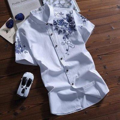 YEAHSHOP 夏季男裝短袖襯衫修身青年休閒Y185