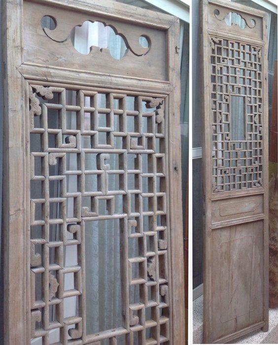 【黑狗兄】老窗花門雕花門,木門,木窗,隔扇,屏風一件----A5-05