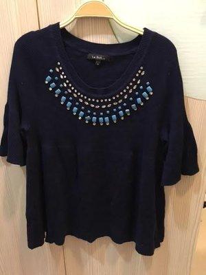 小花別針、專櫃品牌【Le polka】深紫色針織上衣