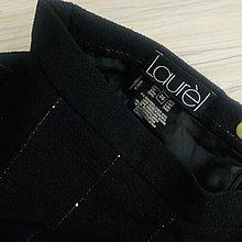 歐碼36 Laurel 黑色細亮白條紋91%羊毛及膝裙