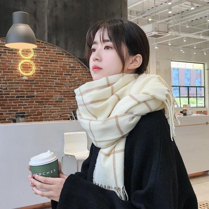 圍巾韓版女冬季長款加厚保暖格子ins超火的韓國百搭學生圍脖秋