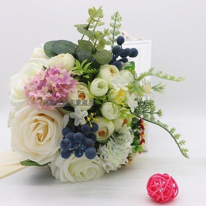 新娘手捧花 仿真婚禮紅白玫瑰 森系