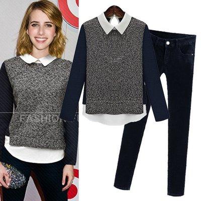 =EF依芙= 2836 新款大碼女裝修身長袖拼接娃娃領T恤套装+褲子