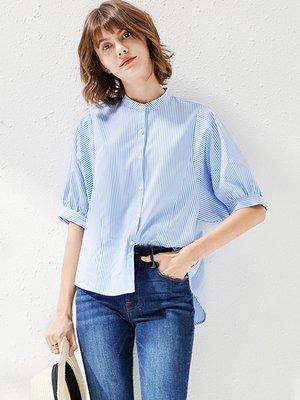 UX 法式泡泡袖 寬鬆舒適棉 條紋襯衫