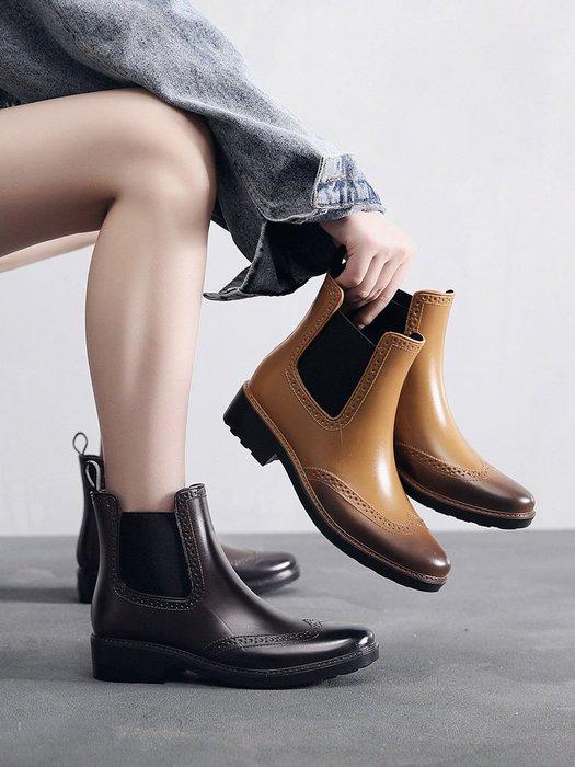 999新款雕花時尚雨鞋女成人加絨水鞋外穿防水防滑短筒雨靴YC0310