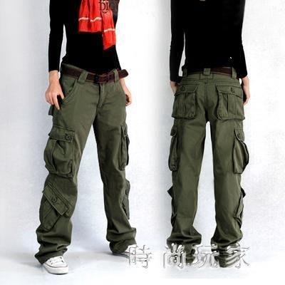 新款女士工裝褲多兜多袋口袋長褲情侶寬鬆大碼戶外棉質褲zzy5530