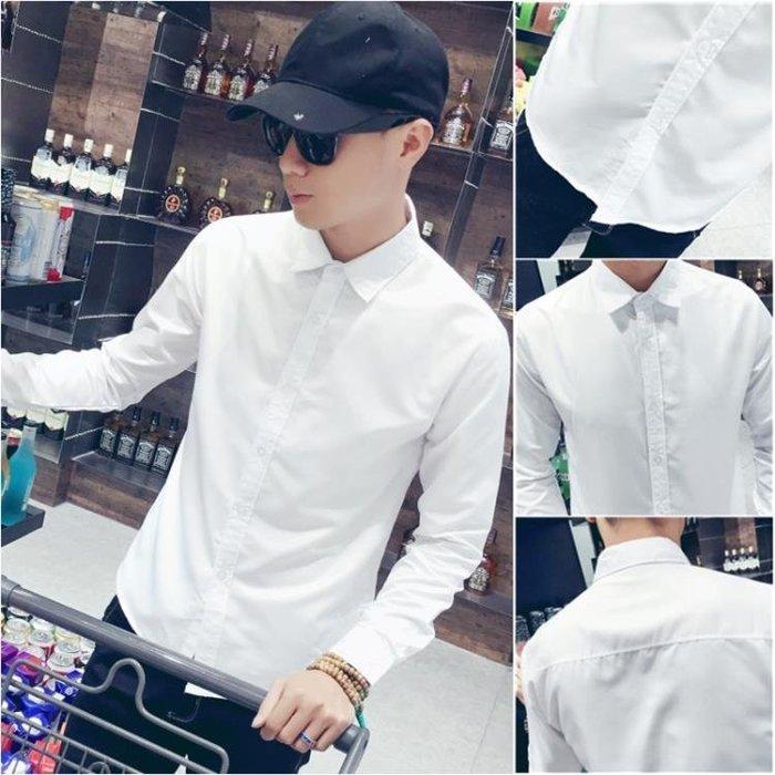 素面襯衫男士白色襯衫男長袖修身正韓潮流休閒襯衣男青年素面寸衫大尺碼-喜氣洋洋
