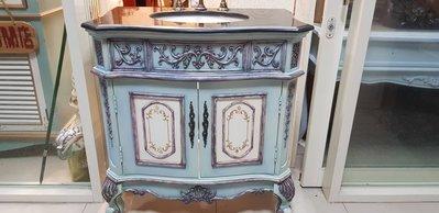 歐式浴櫃 歐式古典巴洛克大理石洗臉台櫃...